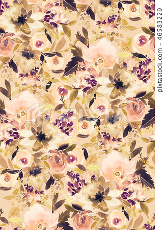 Seamless summer pattern with watercolor flowers 46583229