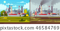 Vector ecology concept. Environmental pollution. Factory plant. 46584769