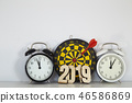 New year 2019 with darts board 46586869