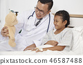 Little girl and doctor in hospital 46587488