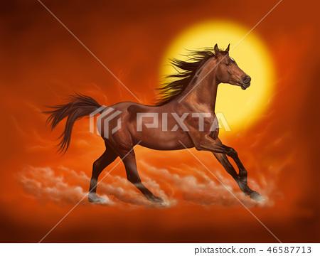 Brown horse illustration, digital painting 46587713