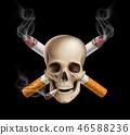cancer, cigarette, skull 46588236