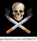 cancer, cigarette, skull 46588237