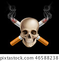 cancer, cigarette, skull 46588238