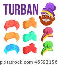 Turban Vector. Indian, Arabic Head Cap, Hat. Bedouin Headdress. Isolated Cartoon Illustration 46593156