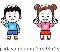 男孩和女孩春天的衣服 46593645