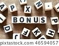 Wood letter block in word bonus 46594057