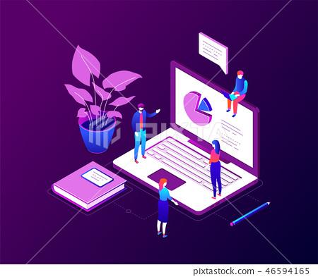 Data analysis - modern colorful isometric vector illustration 46594165