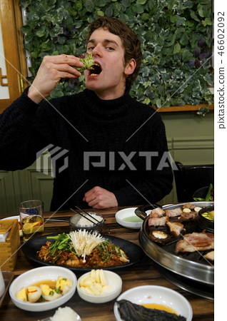 Come on! Hungarian foreigner eating bacon 46602092
