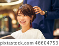 Woman at the hairdresser shortcut 46604753
