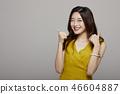 妇女画象系列颜色后面手标志 46604887