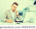 Business partner with smart phone and laptop 46609595