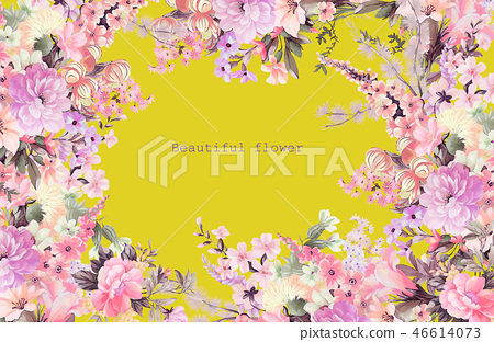 優雅的水彩玫瑰花牡丹花 46614073