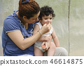 Mother and young child in outdoor environment 46614875