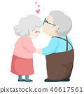 Lovely elderly couple kissing vector. 46617561