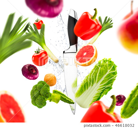 Knife and fresh vegetables, healthy lifestyle 46618032