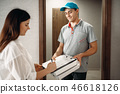 Female customer signs order to pizza delivery boy 46618126