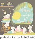 Cute rabbits awaking in hole. Hello spring 46621542
