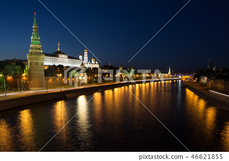 Night view of the Moskva River and Kremlin, Moscow 46621855