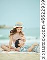 여름, 바다, 데이트, 커플, 연인, 여자, 남자, 파도 46622939