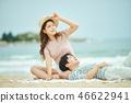 여름, 바다, 데이트, 커플, 연인, 여자, 남자, 파도 46622941