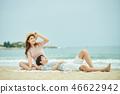 여름, 바다, 데이트, 커플, 연인, 여자, 남자, 파도 46622942