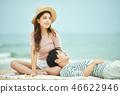 여름, 바다, 데이트, 커플, 연인, 여자, 남자, 파도 46622946