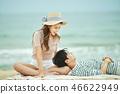 여름, 바다, 데이트, 커플, 연인, 여자, 남자, 파도 46622949