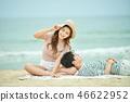 여름, 바다, 데이트, 커플, 연인, 여자, 남자, 파도 46622952
