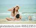 여름, 바다, 데이트, 커플, 연인, 여자, 남자, 파도 46622953