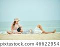 여름, 바다, 데이트, 커플, 연인, 여자, 남자, 파도 46622954