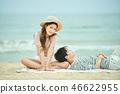 여름, 바다, 데이트, 커플, 연인, 여자, 남자, 파도 46622955