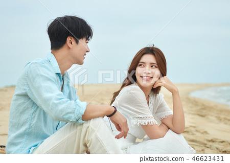 여름, 바다, 데이트, 커플, 연인, 여자, 남자, 해변 46623431