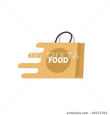 Food delivery vector logo isolated, shopping bag 46623768