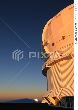 The CFH telescope and the shadow of Mauna Kea in the morning sun 46624466