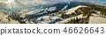 Panorama of ski resort in Carpathian mountains.  46626643