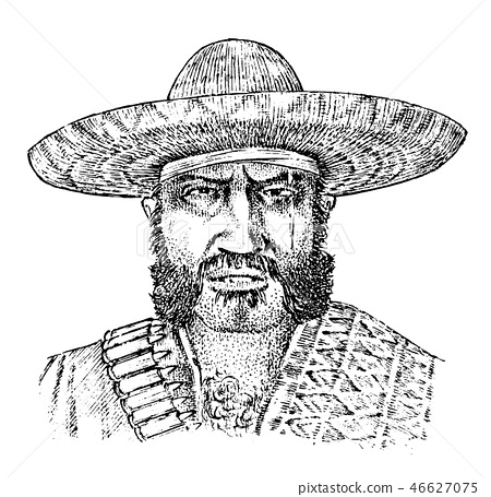 Cowboy face close up. Mexican man. Sheriff in sombrero hat. Western rodeo icon, Texas Ranger, Wild 46627075