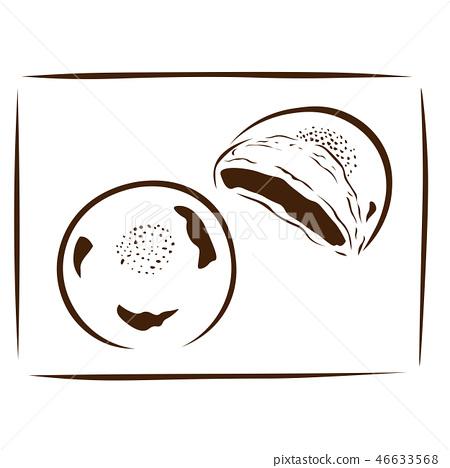Cooking illustration Anpan brown 46633568