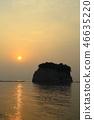 스즈시 見附島 (군함 섬)와 새벽 46635220