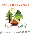Lets go glamping - summer camping scene vector illustration. Boho teepee tent. Camp night scene 46635502