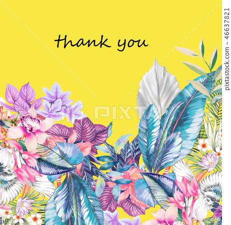 우아한 수채화 열대 꽃과 야자 잎 46637821