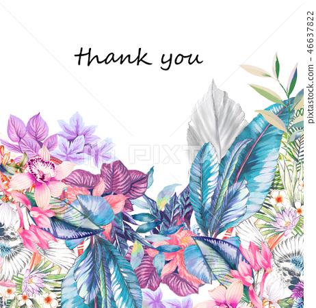 優雅的水彩熱帶花卉和棕櫚葉子 46637822