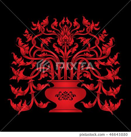 Thai Art_The Vase_Red Color on Black Background 46643880