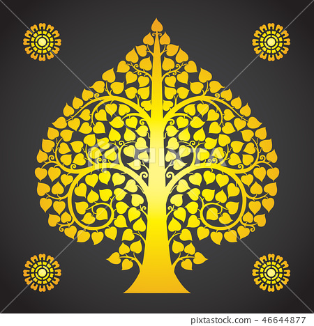 Thai Art Bodhi Tree on Black Background 46644877