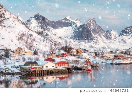 Colorful scandinavian village on coastline 46645781