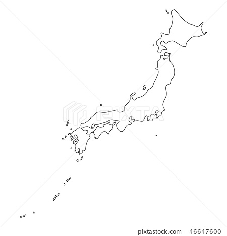 Japan Solid Black Outline Border Map Of Stock