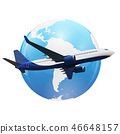 Airplane flight background above world map 46648157