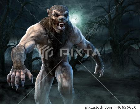 Werewolf scene 3D illustration 46650620