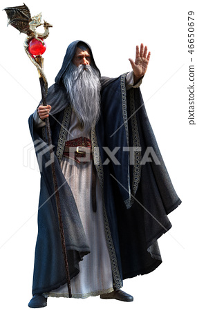 Wizard 3d illustration 46650679