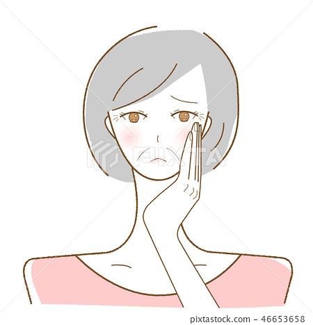 단축키 여성 노화 눈가 주름 팔자 주름 벡터 일러스트레이션 46653658